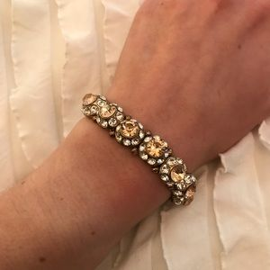 Forever 21 Stretchy Peach Clear Jeweled Bracelet